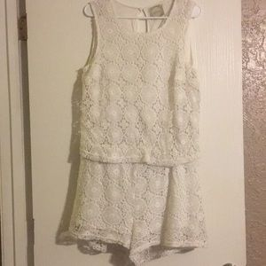 White Crochet Romper by Althea